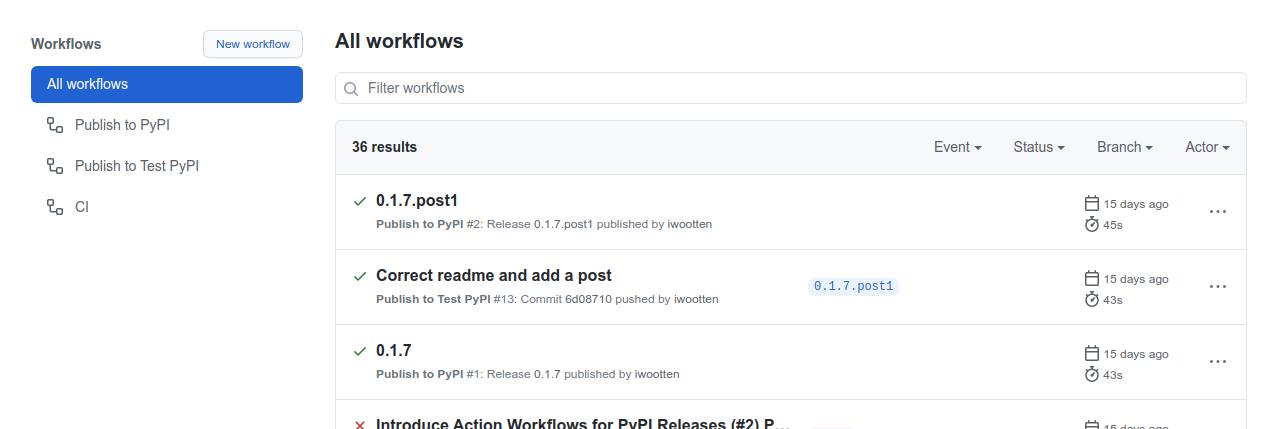 Github Actions Workflows on github.com