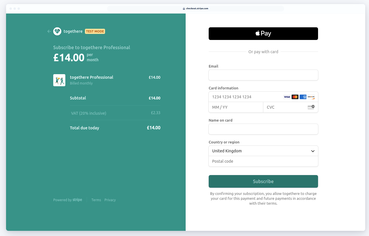 An Example of Stripe Checkout